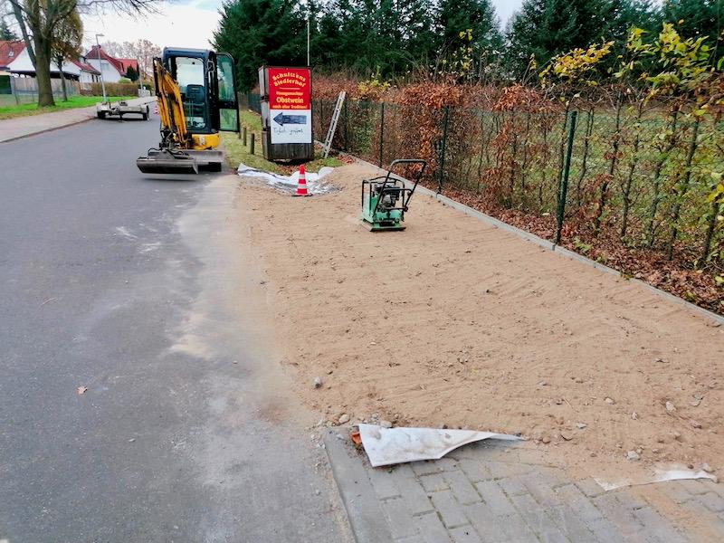 Foto von den Bauarbeiten Im Dezember zur Errichtung der Zusatzhaltestelle in der Karl-Liebknecht-Straße